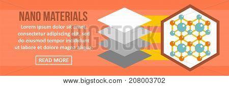 Nano materials banner horizontal concept. Flat illustration of nano materials banner horizontal vector concept for web design