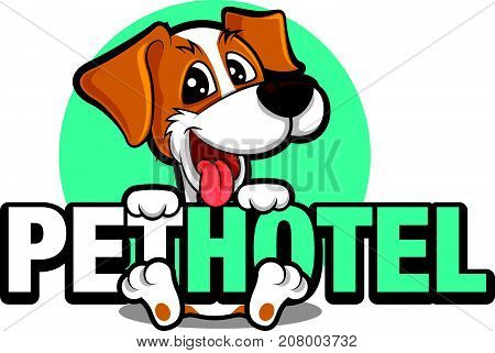 Cute dog character holding a big signboard