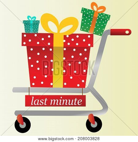 Christmas last minute shopping gifts - vector illustration