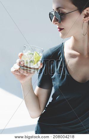 Woman Drinking Gin Tonic