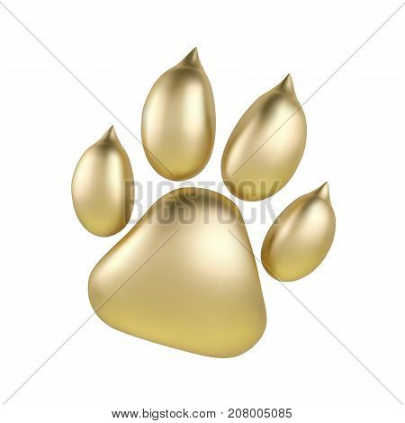 Vector Golden paw print of animal logotype or icon isolated on white background. Dog paw footprint logo. Year of Dog.