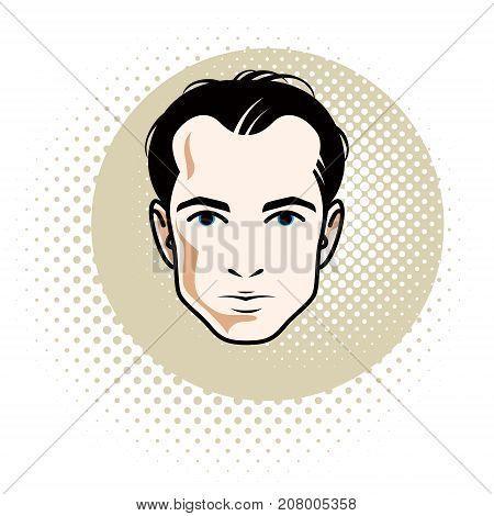 Caucasian confident brunet male attractive man face vector human portrait.