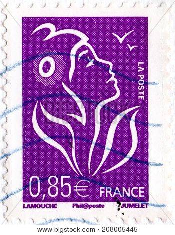 Ukraine - circa 2017: A postage stamp printed by France shows Marianne of Lamouche the allegory of the French Republic circa 2006