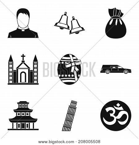 World religion icons set. Simple set of 9 world religion vector icons for web isolated on white background
