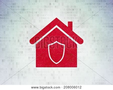 Finance concept: Painted red Home icon on Digital Data Paper background