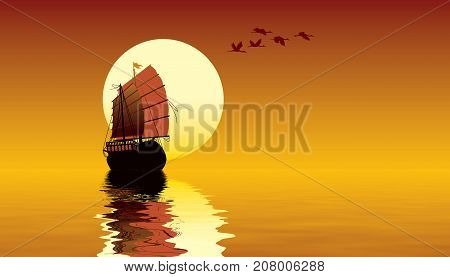 Tropical sunset with ocean sailing ship and flying birds