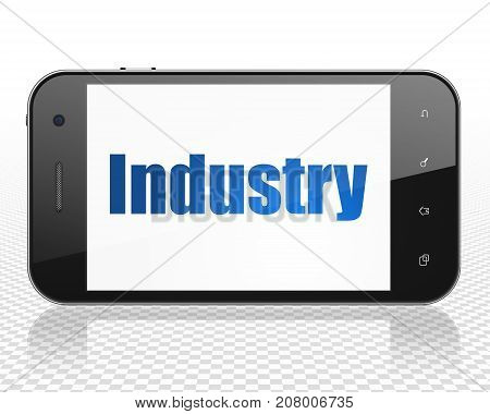 Finance concept: Smartphone with blue text Industry on display, 3D rendering