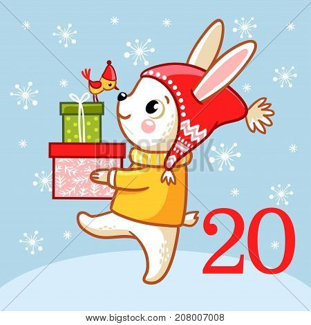 Vector christmas advent calendar in childrens style. Cute rabbit standing in the snow and holding box with Christmas gifts. Illustration with animal.