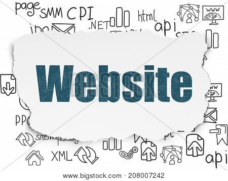 Web design concept: Painted blue text Website on Torn Paper background with  Hand Drawn Site Development Icons