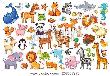 Big vector set of animals. Collection of cute animals in cartoon style.