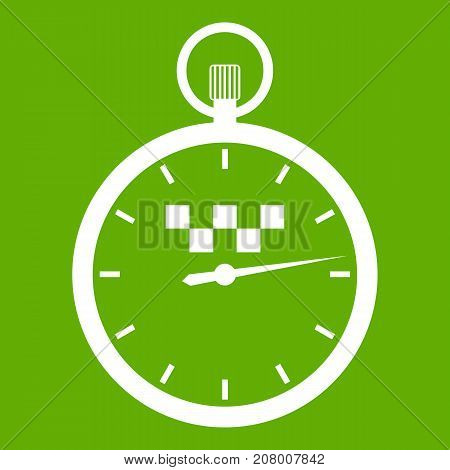 Speedometer in taxi icon white isolated on green background. Vector illustration