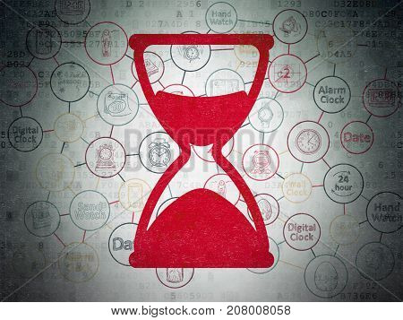 Time concept: Painted red Hourglass icon on Digital Data Paper background with Scheme Of Hand Drawing Time Icons