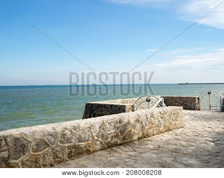 Blue sea and sky white cloud at seaside in summer vacation and relax time.