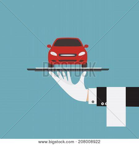 Waiter hand serving car. Serving car provided sale rental. Vector stock.