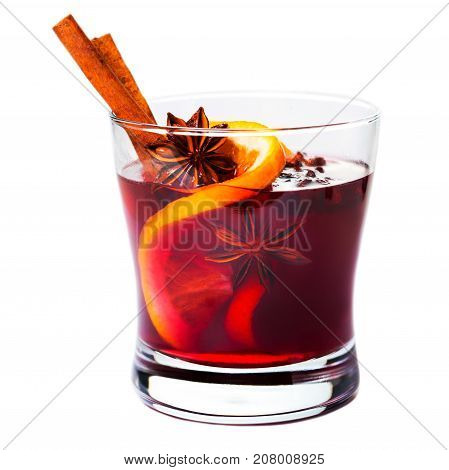 Christmas mulled wine isolated on white background. Red Hot wine or gluhwein with spices winter drink macro