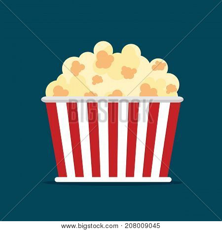 Popcorn icon symbol food cinema movie film flat vector stock