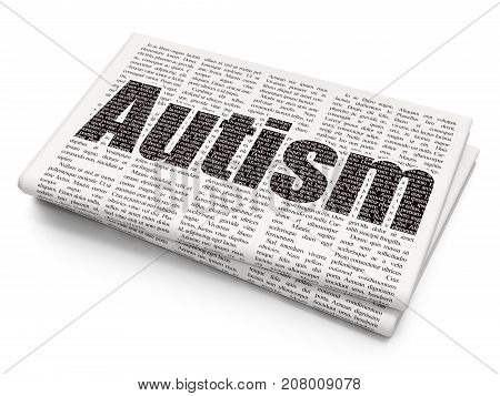 Health concept: Pixelated black text Autism on Newspaper background, 3D rendering