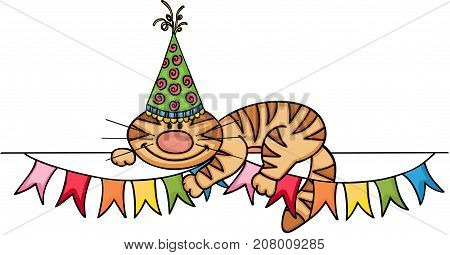 Scalable vectorial image representing a Birthday cat banner, isolated on white.