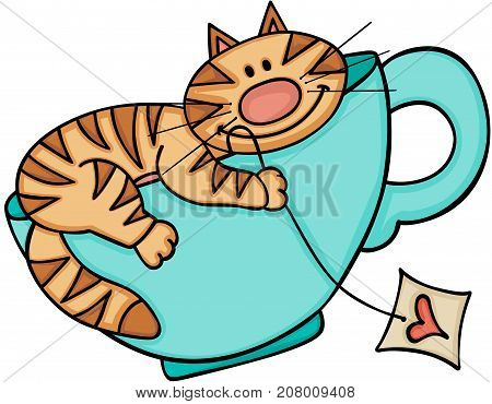 Scalable vectorial image representing a happy cat on blue cup of tea, isolated on white.
