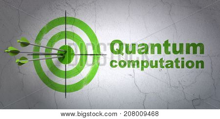 Success Science concept: arrows hitting the center of target, Green Quantum Computation on wall background, 3D rendering