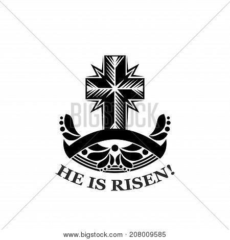 He is risen icon for religious Easter holiday celebration design of crucifixion Christianity cross with ornate floral ornament and ribbon. Vector template for church Easter greeting quote