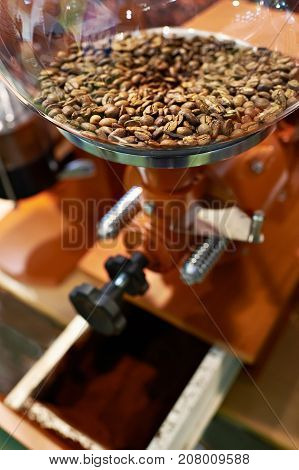 Coffee Beans In Grinder With Millstones