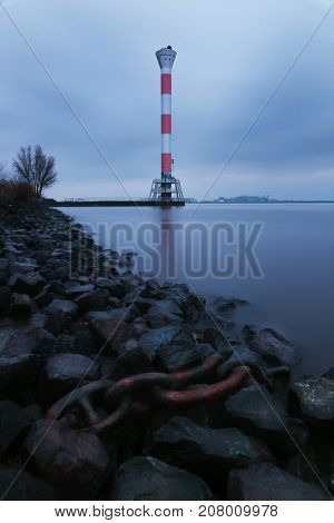 Leuchtturm Blankenese. The lighthouse at the Elbe river in Blankenese, Hamburg, Germany, Europe