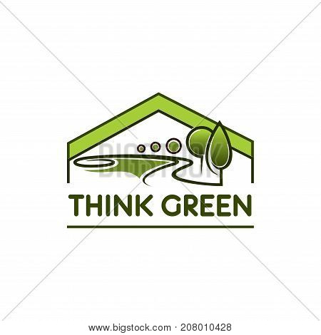 Think green environment company and ecology icon template. Vector design of green trees forest, gardens or parklands squares and eco woodlands for eco house planting or horticulture gardening