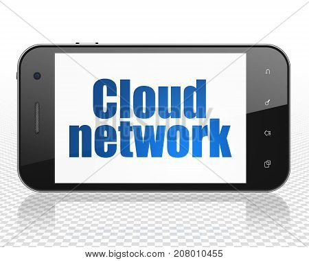 Cloud computing concept: Smartphone with blue text Cloud Network on display, 3D rendering