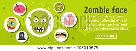 Zombie face banner horizontal concept. Flat illustration of zombie face banner horizontal vector concept for web design