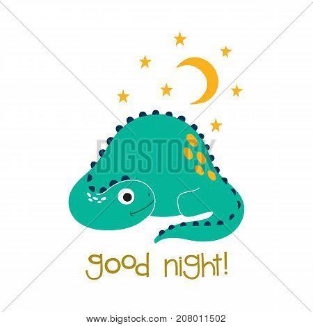 Cute cartoon dino vector illustration. Good night