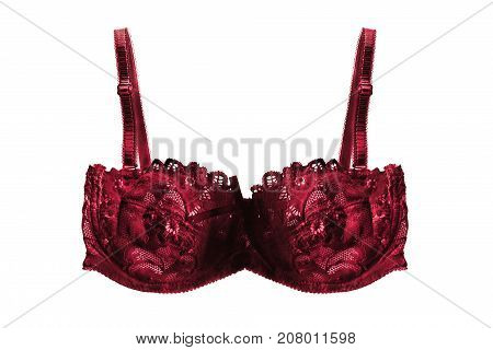 Red sexy lacy bra isolated over white