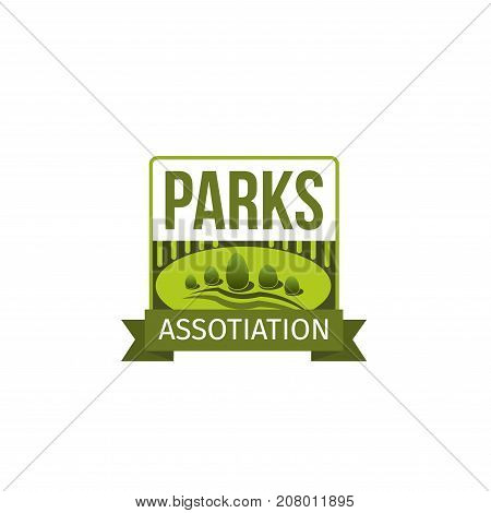 Gardening or green landscape and parks planting association icon design template. Vector isolated green tree park, nature eco village or woodland and parkland for landscaping horticulture company