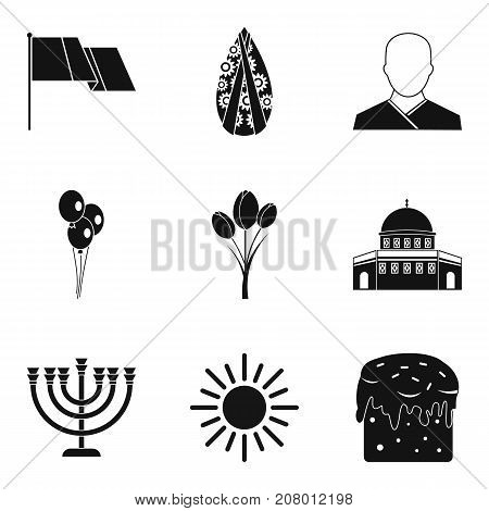 Faith icons set. Simple set of 9 faith vector icons for web isolated on white background