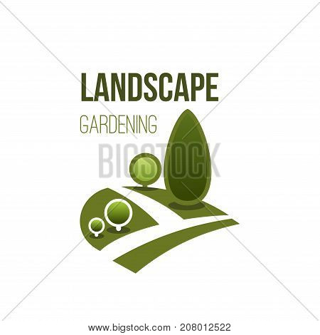 Landscape gardening design and green ecology association or company icon template. Vector isolated design of parkland square, forest tree or garden and woodland for eco environment and nature planting