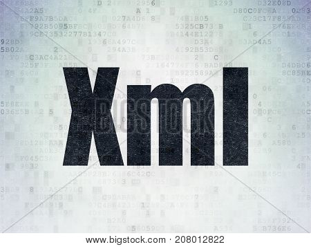 Software concept: Painted black word Xml on Digital Data Paper background