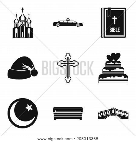 Religion sign icons set. Simple set of 9 religion sign vector icons for web isolated on white background