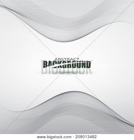 Smooth grey waves and lines abstract smooth background vector eps10