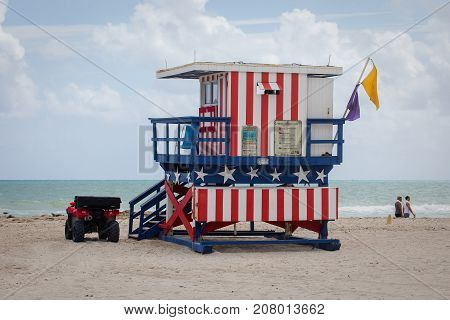 Colorful Lifeguard Tower At South Beach