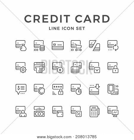 Set line icons of credit card isolated on white. Vector illustration