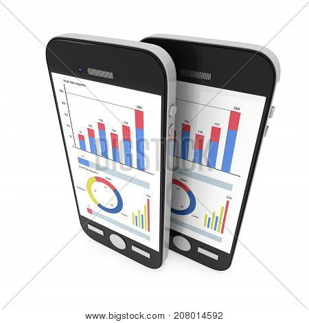 Small Data on Smartphone. Phones with bar graph charts and pie diagram. 3d render isolated on white.