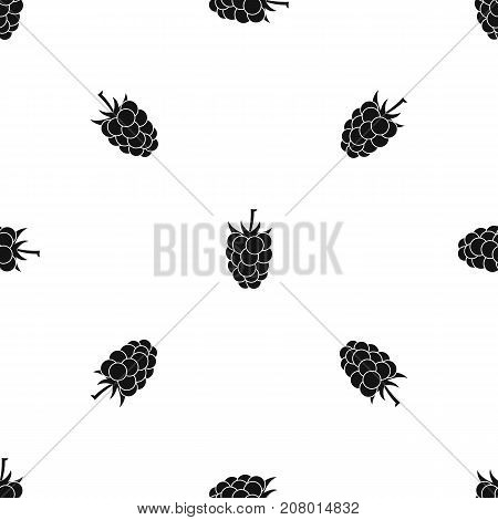 Blackberry fruit pattern repeat seamless in black color for any design. Vector geometric illustration