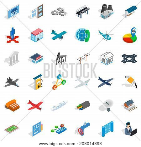 Jet icons set. Isometric style of 36 jet vector icons for web isolated on white background