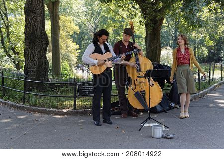New York City, Usa, September 10, 2017 : Music Players In Central Park. Central Park Is The Most Vis