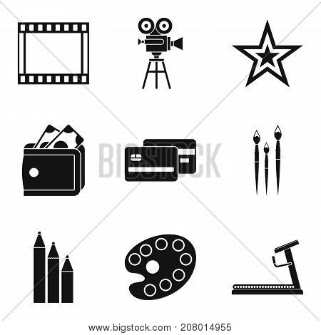 Star movie icons set. Simple set of 9 star movie vector icons for web isolated on white background