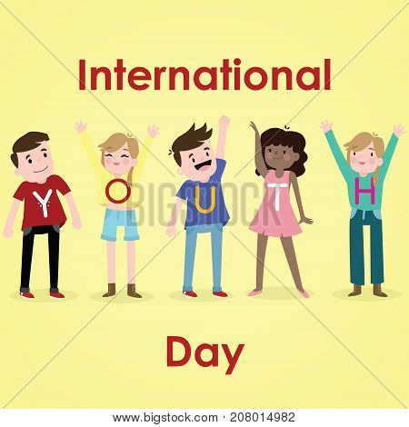International Youth Day, 12 August. Happy and cheerful youth conceptual illustration vector.