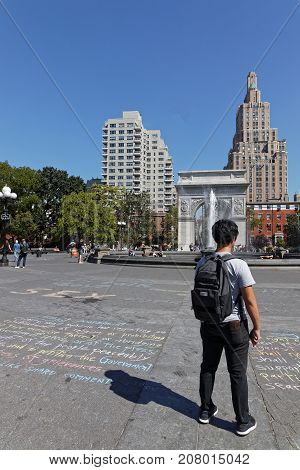New York City, Usa, September 13, 2017 : Washington Square Park In The Greenwich Village Neighborhoo