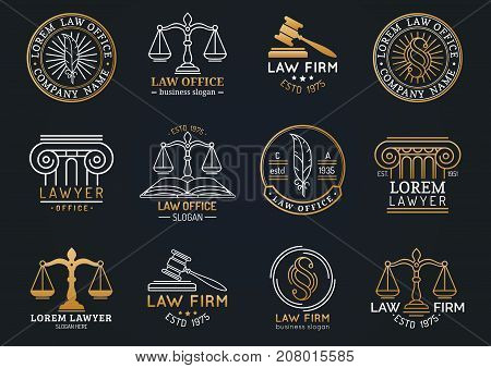 Law office labels set with scales of justice gavel etc illustrations. Vector vintage attorney advocate juridical firm badges collection. Act principle legal icons design. poster