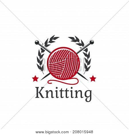 Knitting or needlework icon of wool yarn and cotton clew ball with knit needles. Vector isolated laurel wreath and stars for knitwear sewing service or atelier tailoring salon