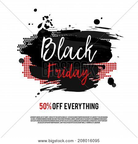 Black Friday Sale Poster on a hand drawn brush background. Sale banner with special offer fifty percent off. Vector Illustration.